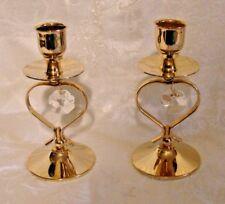 """Austrian Crystal Mascot Intl. 24K Gold Plated 5"""" Candlesticks 1996 #10"""