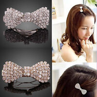 High Girls Crystal Rhinestone Hair Clip Fashion Bowknot Barrette Clamp Hairpin