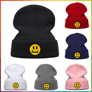Drew Justin Bieber Cotton Casual Beanies for Men Mujer Knitted Winter Hat Solid Color Hip-Hop Skullies Hat Unisex Drew House
