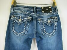 F2197  Women's MISS ME Embroidered Rhinestone Boot Cut Denim Jeans Size 27