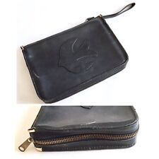 Vintage Black Genuine Leather Bible Dove Zip Up Pouch Bag with Wrist Strap USA