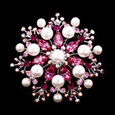 Handmade Pink 5.5cm Swarovski Elements Silver Vintage Crystal & Pearl Brooch 02B