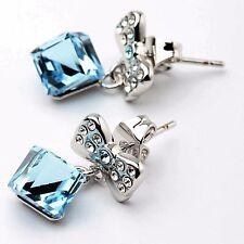18K White Gold Plated Genuine Blue Austrian Crystal Bow Ribbon Earrings Stud UK