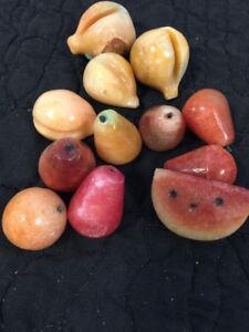 12 PC Set Miniature VTG ALABASTER MARBLE STONE FRUIT Pear Watermelon