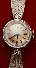 NEAR MINT ROLEX 14K SOLID WHITE GOLD AND DIAMONDS HAND WINDING WATCH..5 5/8""
