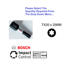 "T20 TORX BOSCH IMPACT CONTROL 25MM 1/4"" HEX  EXTENDED TORSION SCREWDRIVER BIT"