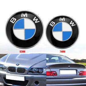 Für BMW 82mm + 74mm Emblem Vorne Motorhaube Heckklappe Hinten Kofferraum DE