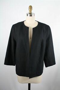 Talbots Petites Black 100% Linen Lined Open Front Blazer Jacket Size 16P New