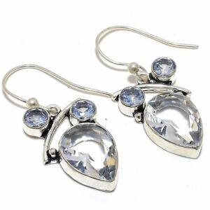 "White Topaz Gemstone 925 Sterling Silver Jewelry Earring 1.8"" F2523"
