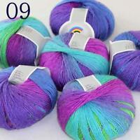 AIP Soft Cashmere Wool Colorful Rainbow Shawl DIY Hand Knitting Yarn 50grx6 09