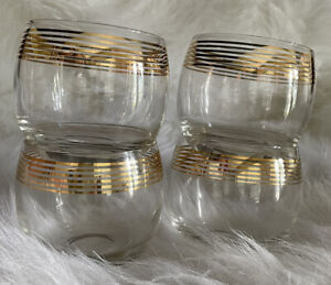 Vintage Roly Poly Gold Striped Glasses 10 oz Set of 4 EUC Gold Intact MCM Mid
