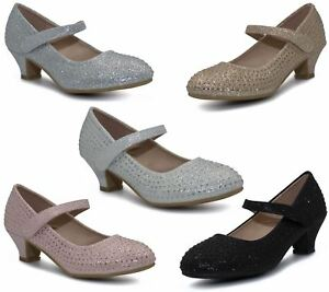 Girls Party Bridesmaid Glitter Diamante Wedding Block Low Heel Shoes