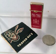 Vintage Pall Mall (Sharp) Butane Lighter + Trader Vic's Matchbook  LIKENEW