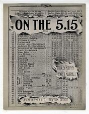 TRANSPORTATION TRAIN Sheet Music 1914 On The 5:15 Train Schedule Cover