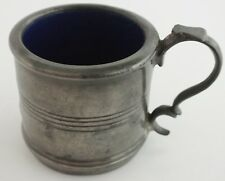 ANTIQUE PEWTER BLUE GLASS LINED POT. UK DISPATCH