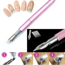 1 Gel Design Painting Pen Nail Art Brush & 5 Nibs For Salon Manicure DIY Tool