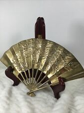 Oriental Brass Fan Dragon Bird With Flowers Asian Wall Decor Chinese Art Design
