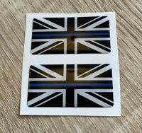 Union Jack Thin Blue Line 3D Gel Domed Sticker Flag Domed Decal 50x25mm x2