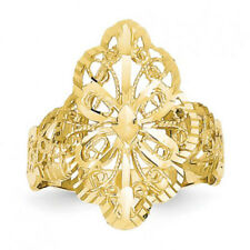 Sz 4 Ladies Filigree Textured Graduated Ring Real Solid 14K Yellow Gold