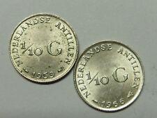 H860     NIEDERLÄNDISCHE ANTILLEN 1/10 Gulden 1959 + 1966