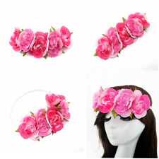 Fashion Women Girls Flower Headband Crown Head Elastic Hair Band Wedding Party