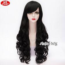 Homestuck Vriska Serket 80CM Long Black Curly Hair Party Women Cosplay Wig