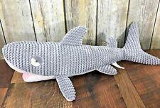 "Pier 1 Imports Gray Corduroy Chenille Plush Toy Shark Week 21"" Bedroom Decor"
