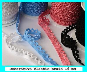 Decorative elastic lace braid stretch trim 16 mm wide for sewing crafts lingerie