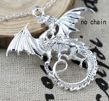 Fashion Silver Plated Jewelry Dragon Wings Charm Pendant Fit For Necklace