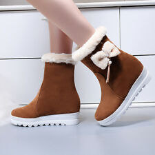 Womens Winter Sweet Bowknot Fur Trim Wedge Mid Heels Pull On Ankle Boots Size
