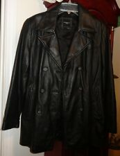 M Ladies Womens Colebrook & Co Outerwear Leather Jacket Coat Black Fitted Lined