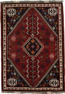 Tribal Design Small Vintage Red 3'6X5' Handmade Wool Rug Area Oriental Carpet