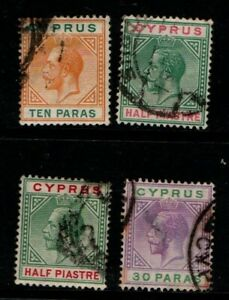 Cyprus 1912 1915  King George V selection to 30p SG74-76 Used