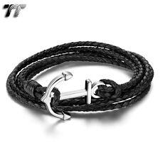 TT Black Multi Leather 316L Stainless Steel Anchors Bracelet (BR207DS) NEW