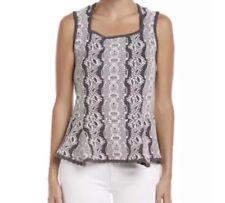 CAbi #887 Nordic Gray White Peplum Shell Sleeveless Knit Sweater Top XS