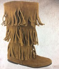 MINNETONKA Calf High 3 Layer Fringe Suede Leather Boots Brown Women's Size 6