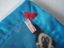 Baby bedding Handmade Blue Mickey&Minnie Mouse fleece Blue Satin Blanket Binding