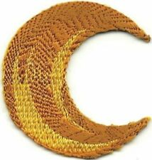 Yellow Lunar Waning or Waxing Crescent Moon Embroidery Patch