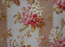 Antique French Apple Blossom Floral Stripe Cotton Fabric ~ Pink Olive Mocha