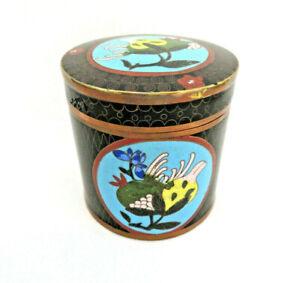 Vintage Chinese Cloisonne Enamel Tea Caddy / Tobacco / Trinket Box