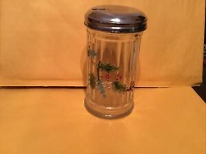 Coffee Sugar Pourer Dispenser Holiday Retro  Glass Vintage Anchor Hocking Holly