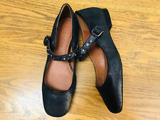 COACH MARY JANE FLORAL EMBELLISHED ANTHRACITE LEATHER FLAT SHOES NWOB SZ 8.5