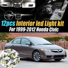 12Pc Super White Interior LED Light Bulb Kit Pack for 1999-2012 Honda Civic