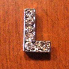 lot de 2 lettres L strass 12x8 mm pour bracelet 8 mm