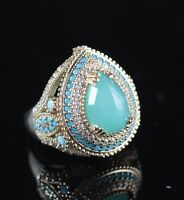 925 Sterling Silver Handmade Antique Turkish Aqua Marine Ladies Ring Size 8