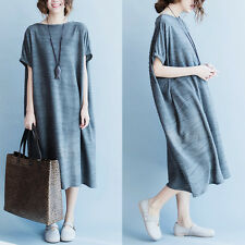 Korean Women Loose Grey Dress Solid Short Sleeve Casual Oversize Summer Vintage