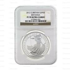 New 2012 UK GB Silver Britannia 1oz NGC PF70 Ultra Cameo Proof Graded Slab Coin