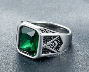Men Punk Green CZ Stone Masonic Silver Titanium Stainless Steel Ring 8-12