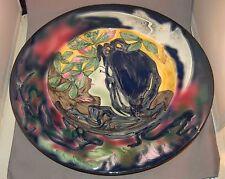 Huge Art Nouveau Lady Art Pottery Majolica Glaze Germany CICO Charger!  DIVINE!