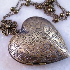 Brass Big Heart Flower Picture Locket Pendant Necklace